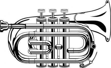 Pocket Trumpet B Flat (b And W) clip art