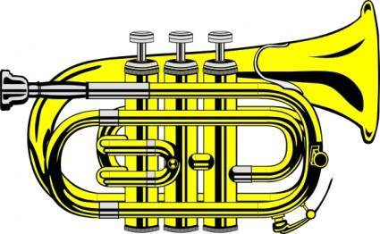 free vector Pocket Trumpet B Flat (colour) clip art
