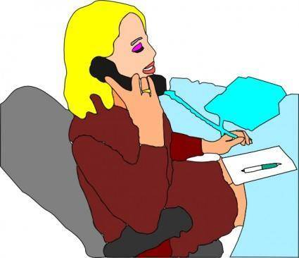 Secretary Answering Phone clip art