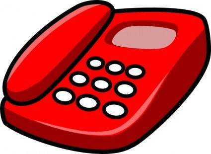 free vector Red Telephone clip art