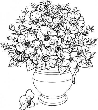 Vase Of Wild Flowers clip art