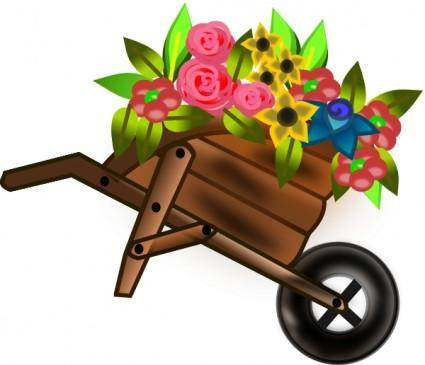 Flower Wheelbarrel clip art