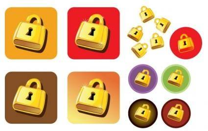 free vector Golden Lock Vector