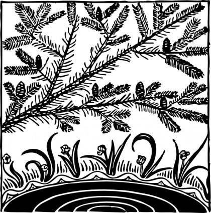 Pine Over Pond clip art