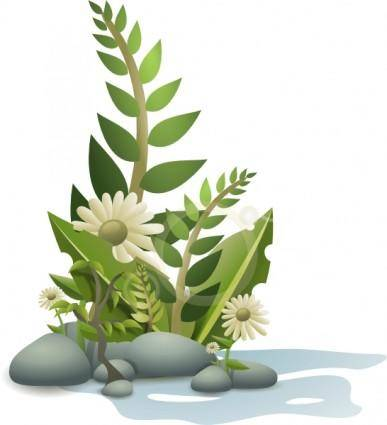 Andy Plants Pebbles And Flowers clip art