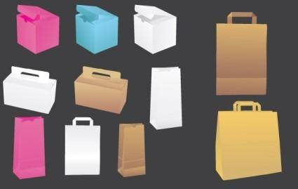 free vector Vector paper bags & boxes