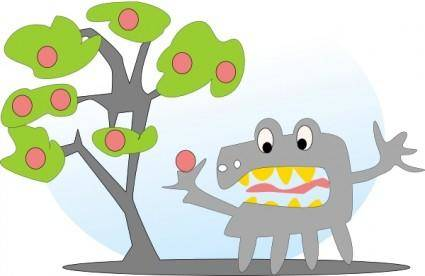 Salvor Tree With Apples And A Monster clip art
