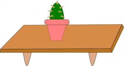 Cactus In Pot On A Table clip art