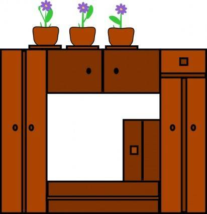 free vector Plants On Wooden Frame clip art