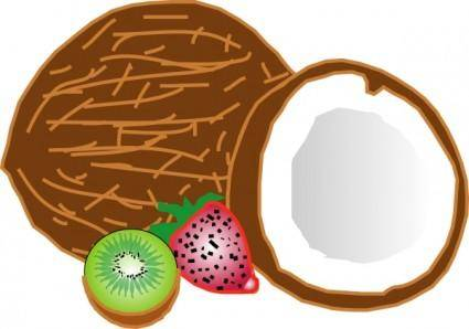 free vector Coconuts Kiwi Strawberry clip art