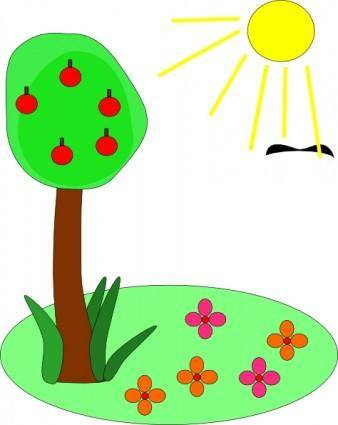 free vector Sun Tree Flowers clip art