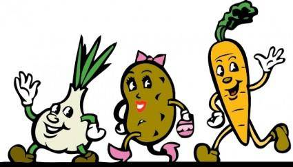 Cartoon Veggies Running clip art