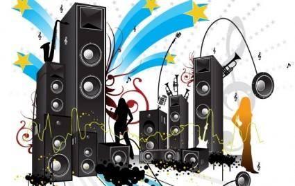 free vector FREE POP ART STYLE MUSIC VECTOR