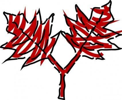 Two Red Leaves clip art