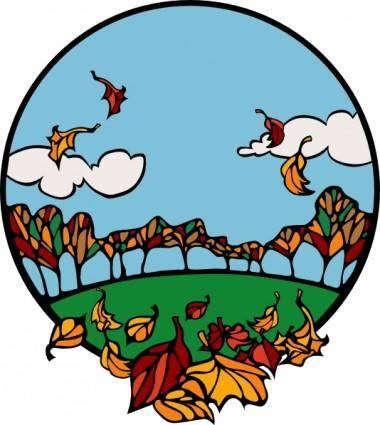 Fall Scene In A Circle clip art