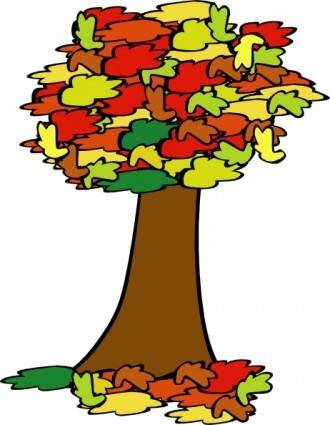 free vector Fall Coloured Tree clip art