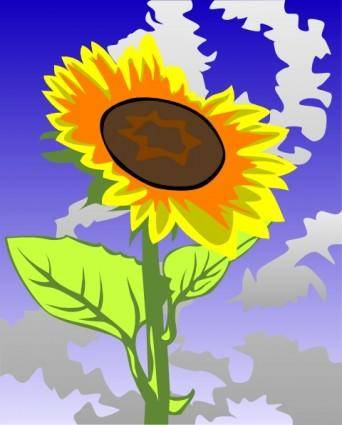 free vector Sunflower Against Blue Sky clip art