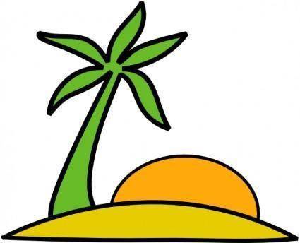 Island, Palm, And The Sun clip art