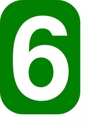 Green Rounded Rectangle With Number 6 clip art