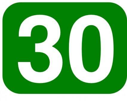 Green Rounded Rectangle With Number 30 clip art