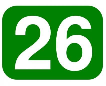 Green Rounded Rectangle With Number 26 clip art
