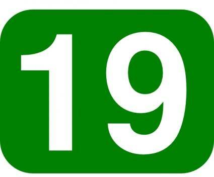 Green Rounded Rectangle With Number 19 clip art
