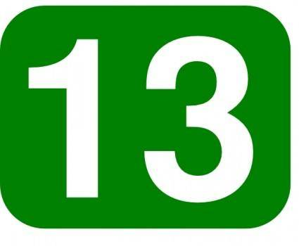 Green Rounded Rectangle With Number 13 clip art