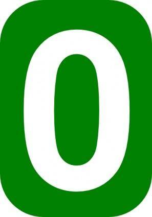 Green Rounded Rectangle With Number 0 clip art