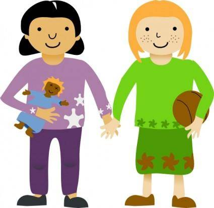Two Little Girls clip art