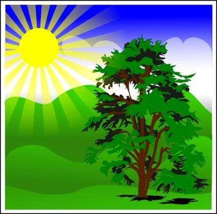 Sunny Spring With Blue Sky clip art