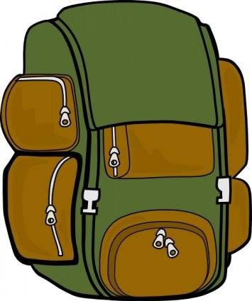 Backpack Green Brown clip art