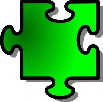 Green Jigsaw Piece clip art