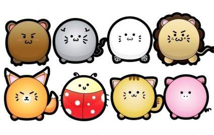 free vector Cute Puffy Animals