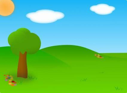 free vector Cartoon Landscape clip art