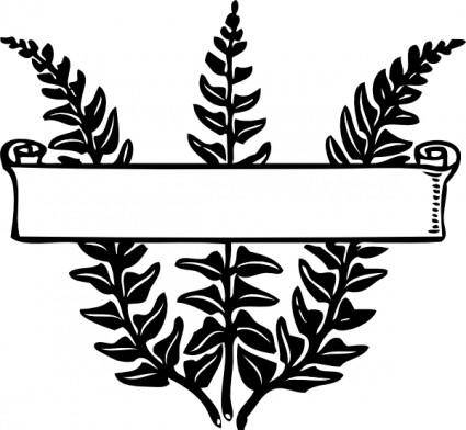 Scroll Ribbon Title Over Ferns clip art