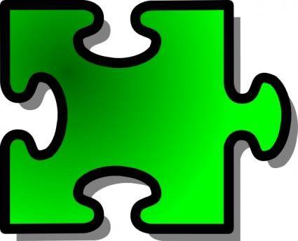 Jigsaw Green Piece clip art