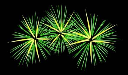 Green And Yellow Fireworks clip art