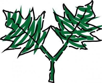 free vector Two Green Leaves clip art