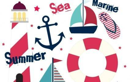 free vector Summer Sail Design Set