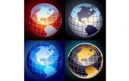 free vector Free set of vector globes
