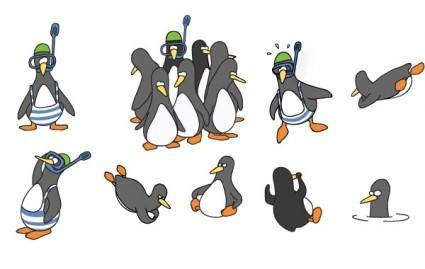free vector Funny Penguin Vector Set