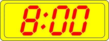 Digital Clock 8:00 clip art