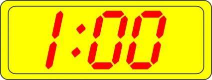 Digital Clock 1:00 clip art
