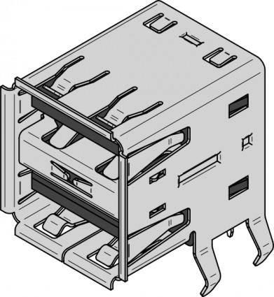 free vector Usb Type A Dual Receptacle clip art