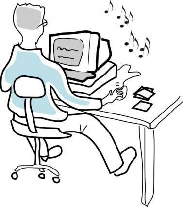 free vector Computer User Burning Music Cds clip art