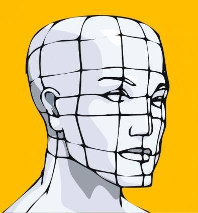 free vector Face Of A Man With Curving Lines clip art