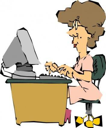 Woman Using A Computer clip art