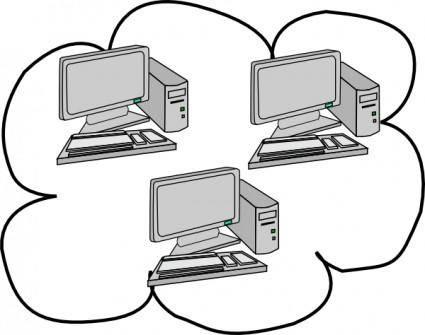 free vector Network Cloud Computing clip art