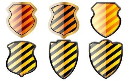 Free set of of shields in black and yellow stripes