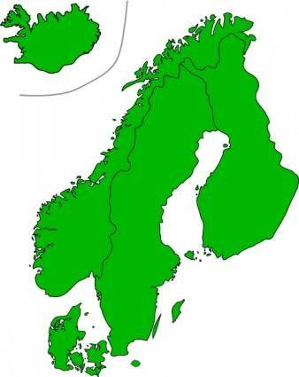 free vector Map Of Scandinavia clip art
